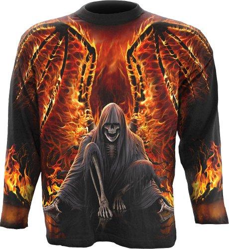 Spiral - Mens - Flaming Death - Allover Longsleeve T-Shirt Black