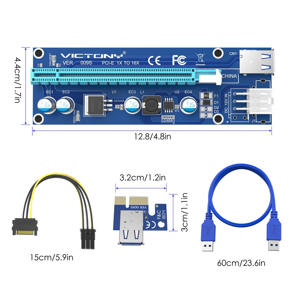 VICTONY 6Pin PCI-E Riser 6-Pack 1x to 16x Powered Riser Adapter Card With 23.6 inch USB 3.0 Extension Cable & 6 Pin PCI-E to SATA Power Cable-GPU Riser Adapter-Ethereum Mining ETH+MintCell 6 Cable Tie by VICTONY (Image #7)