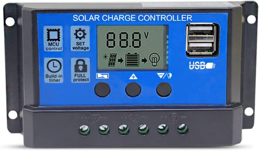 20A Solar Charge Controller Solar Panel Battery Intelligent Regulator with Dual USB Port 12V/24V PWM Auto Paremeter Adjustable LCD Display : Garden & Outdoor
