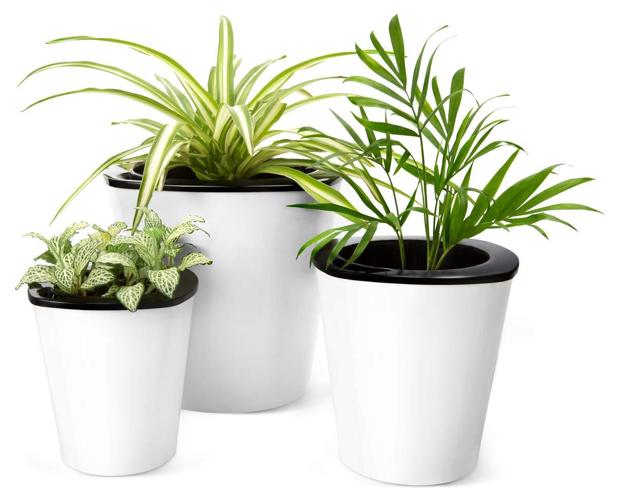 Amazon Mkono Self Watering Planters White Plastic Flower Pots