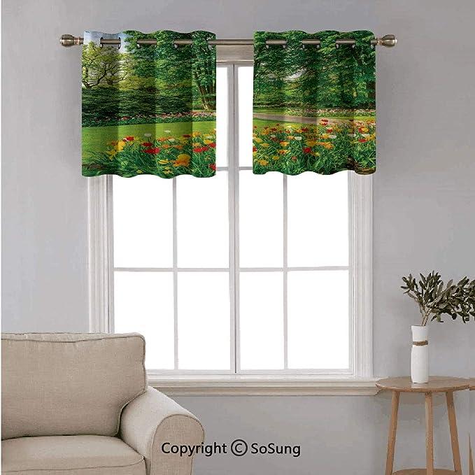 Modern Window Net Curtain Panel  TULIP Hand Painted  Curtains Decor