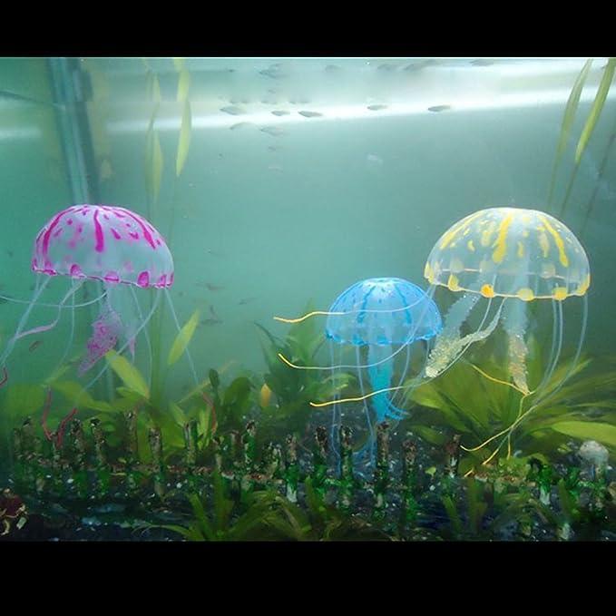 6 Pezzi Meduse Luminose Come Decorazione Decorazioni in Silicone incandescente per Acquario Fish Tank Ornament Mopoin Acquario Decorazione Meduse Artificiali