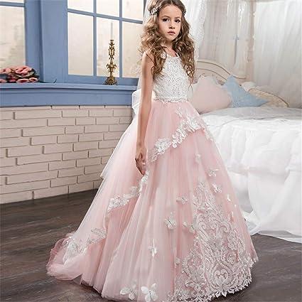 Vestidos de fiesta para niños pequeños Vestido de boda para niños Diamante de encaje hecho a