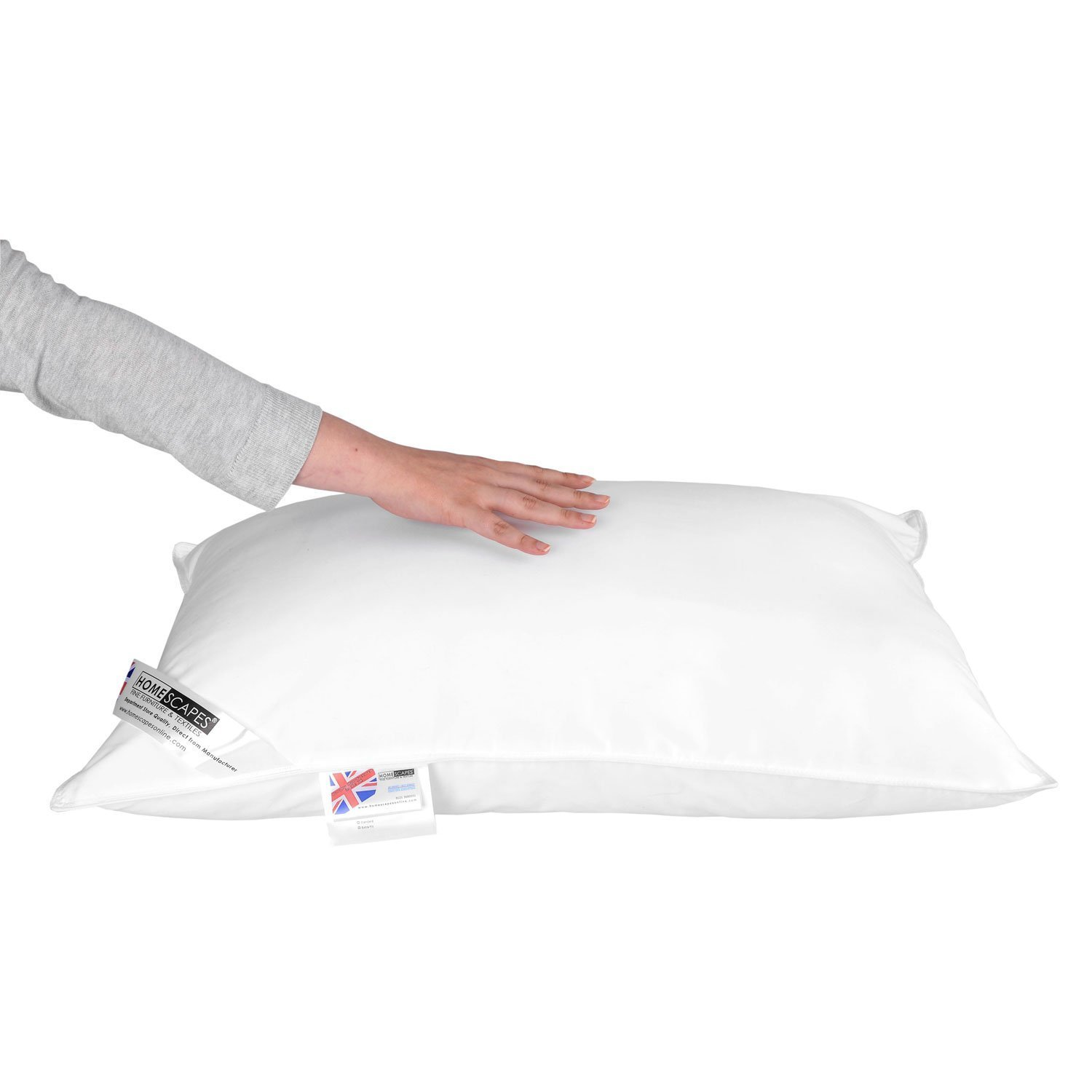 Homescapes - Super Microfibre Bounce Back Pillow - Single - 5 Star Hotel Quality - The Best Synthetic Pillow Available from Homescapes - NOT HOLLOW FIBRE - EXCELLENT for Allergy Sufferers. Goose Down Like - Soft to Medium Support