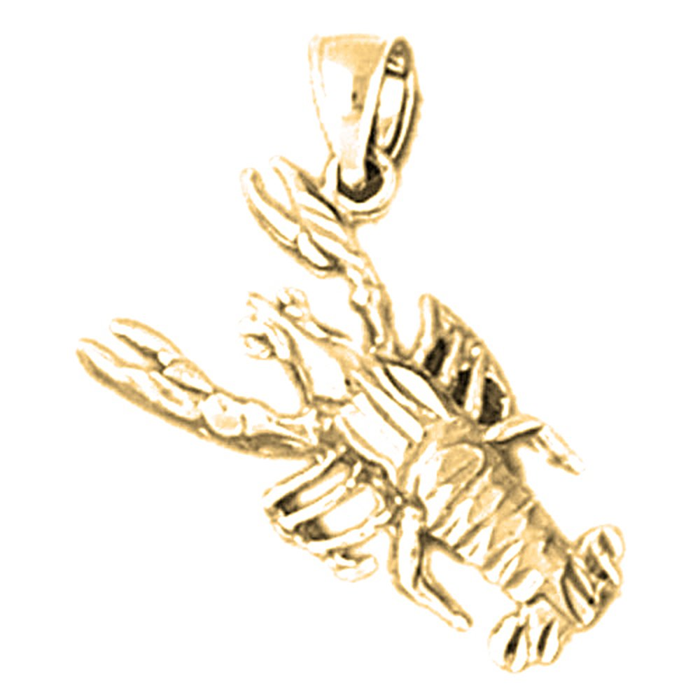 14K Yellow Gold-plated 925 Silver Lobster Pendant with 18 Necklace Jewels Obsession Lobster Necklace