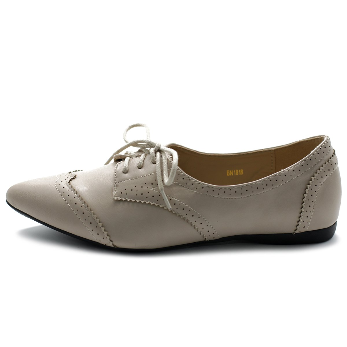Ollio Women's Ballet Shoe Flat Enamel Pointed Toe Oxford M1818 (9 B(M) US, Beige) by Ollio (Image #2)