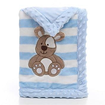 Babydecke Landor Doppelschichten Flanell Weiche Babydecke Winter Warme Streifen Plusch Kleinkind Decke Bequeme Kinderwagen Decke Blauer Hund Amazon De Baby
