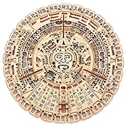 Wood Trick Mayan Wall Calendar Wooden Mechanical Model - 3D Wooden Puzzle, Assembly Constructor, Brain Teaser for Adults and Kids, Best DIY Toy, Eco Wooden Toys - Aztec Calendar