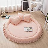 YEVEM Striped Washed Cotton Quilted Round Area Rugs Coral for Kids Adults Baby Toddler Developing Crawling Rug Kids Room Decoration Play Mats, Diameter 59 inch