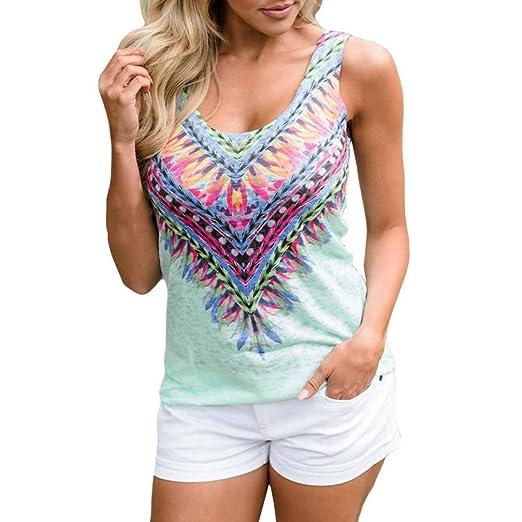 c4c48acaa27 Aurorax Women New Summer Vest Top Sleeveless Blouse Casual Tank Tops T-Shirt  (Green