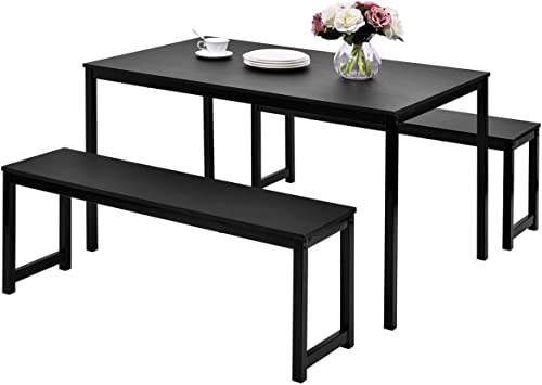 Amazon Com Black Dining Set With Bench Julyfox 3 Piece Modern Dining Room Tables And Chairs Set For 4 Metal And Wood Kitchen Table Set For Small Spaces Table Chair Sets