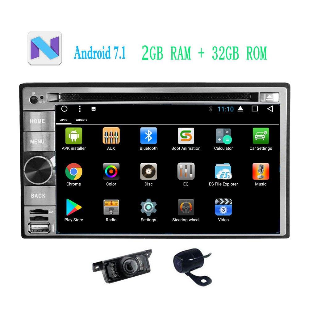 フロント&バックアップカメラが含まれて!ユニバーサルダブルDIN車用6.2インチLCDブルートゥース無線LAN、GPSとダッシュカーラジオDVD CDプレーヤー、ナビゲーション中のAndroid 7.1 OSカーステレオナビゲーター B0778L6B9D