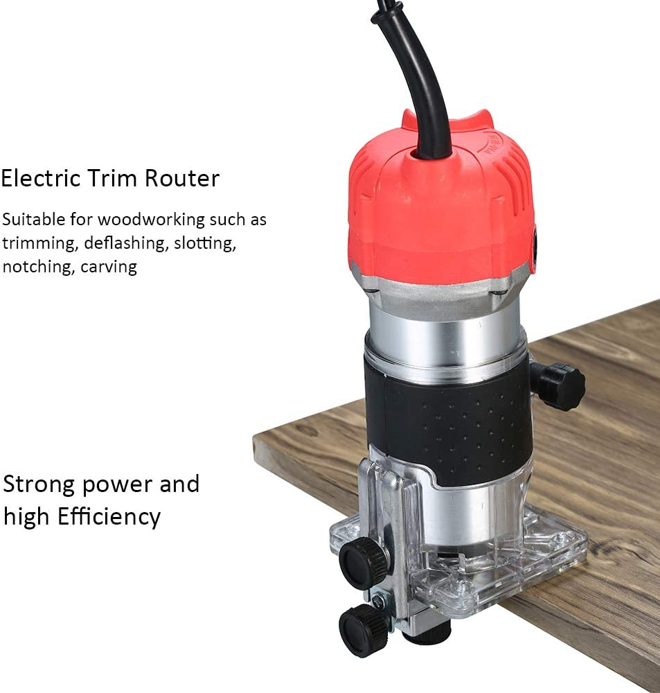 Gecheer Affleureuse D/éfonceuse a Bois D/éfonceuse compacte,220V 800W Trimmer Routeur /électrique 30000r//min de Paume pour Le d/écoupage du Travail du Bois entaillage entaillage//Aluminium Rouge//UE