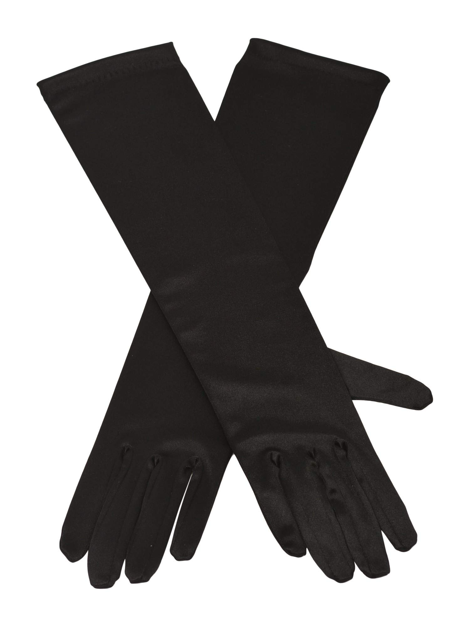 Big Girls Adult Black Satin Elbow Length Special Occasion Gloves