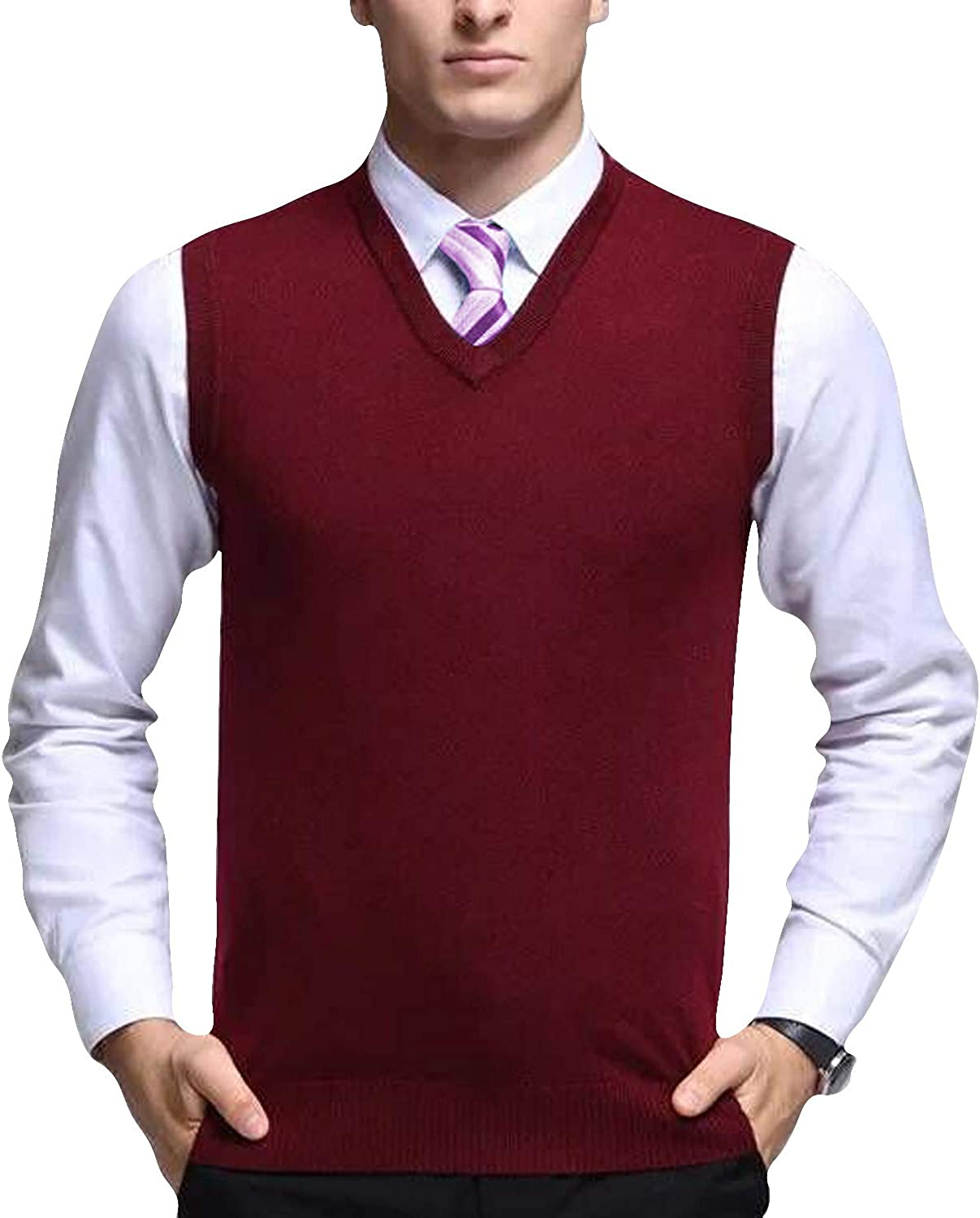 Eradria Men's Winter Classic Wool Sleeveless V Neck Pullover Gilet Cardigans Sweater Vest (XL) Wine