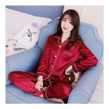 HAOLIEQUAN Traje De Pijama De Seda De Manga Larga para Mujer Conjuntos De Otoño De Satén