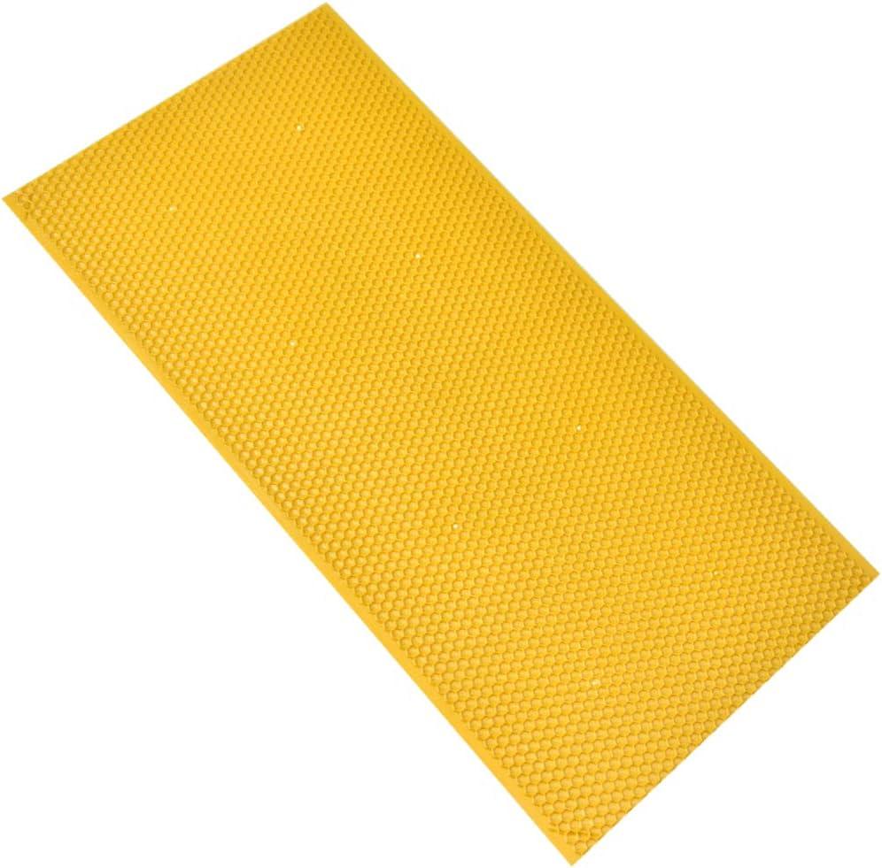 Naisicatar Panal de Miel de Abeja Cera Fundación plástico Peine de la Miel láminas de Base Marco de la Abeja de la Miel Peine Venta Equipo de Apicultura Amarillo 1PC