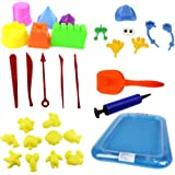 30PCS Bloomood Sand Molds Kit with Portable Sand Tray, Use with Kinetic Sand, Sands Alive, Brookstone Sand, Waba Sand, Moon Sand and All Other Molding Play Sand Brands - (Sand not included)