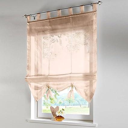 Pueri Roman Shades Ribbon Adjustable Kitchen Balcony Curtains Tie Up Rod  Pocket Roman Window Shades