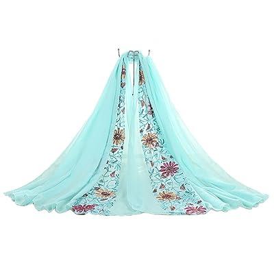 Da.Wa Femmes Vêtements Accessoires châle d'été écharpe brodée bleu clair de style vintage
