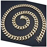 14K Miami Cuban Link Chain 14MM, Real Solid Heavy Premium Gold Overlay Jewelry Pendant Necklace 24 Inch