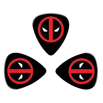 pimalico Classic Deadpool Logo diseño Púas (3 unidades) para guitarra eléctrica, guitarra acústica