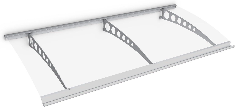 marquise de porte dentr/ée en polycarbonate transparent 160x90 cm fixation en acier blanc Schulte 4037563124085 Auvent Style Plus