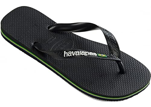 5d50f5e2f8db06 Image Unavailable. Image not available for. Color   Havaianas Brasil Logo  Black White Unisex Beach Flip Flops
