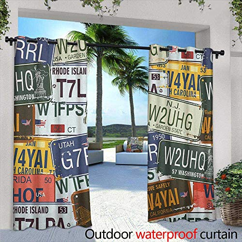 - LOVEEO Vintage Indoor/Outdoor Curtains Original Retro License Plates Personalized Creative Travel Collections Art Darkening Thermal Insulated Blackout 96