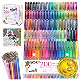 Cedar Markers Gel Pens. 200 Set with Unique Adult Coloring Book. 100 Pens Plus 100 Refills. Color Pens with Grip. Neon, Glitter, Metallic, Pastel Colors No Duplicates. Drawing Pens for Bullet Journal.