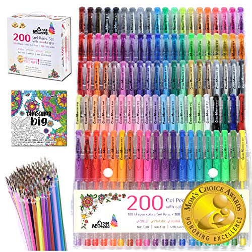 Cedar Markers Gel Pens. 200 Set with Unique Adult Coloring Book. 100 Pens Plus 100 Refills. Color Pens with Grip. Neon, Glitter, Metallic, Pastel Colors No Duplicates. Drawing Pens for Bullet Journal. (Marker Pens Gel)