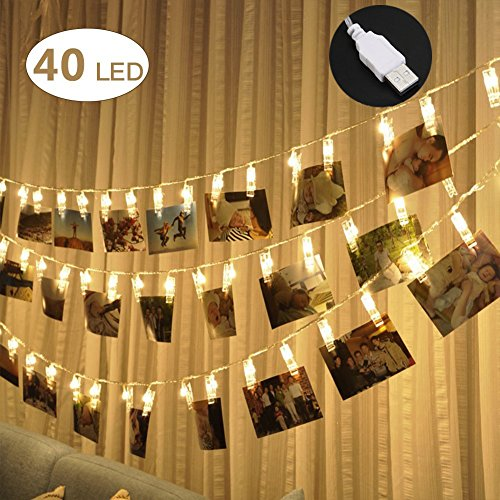 Wall Decor For Teens - 40 LED Photo Clips String Lights - Adecorty USB Powered Christmas String Lights for Wedding Party Home Dorm Wall Decor, Clips Lights for Christmas Cards Photos, Best Gifts for Teen Girls (Warm White)