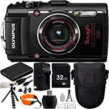Olympus Stylus TOUGH TG-4 Digital Camera (Black) 21PC Accessory Kit. Includes 32GB Memory Card + High Speed Memory Card Reader + 2 Replacement Li-90 Batteries + AC/DC Rapid Home & Travel Charger + Gripster Tripod + Deluxe Camera Starter Kit + MORE
