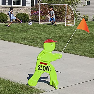 Step2 Kid Alert Visual Warning Signal V.W.S - 32-Inch Caution Go Slow Children At Play Signage - Durable Plastic Outdoor Playtime Safety Signs for Kids with Flag