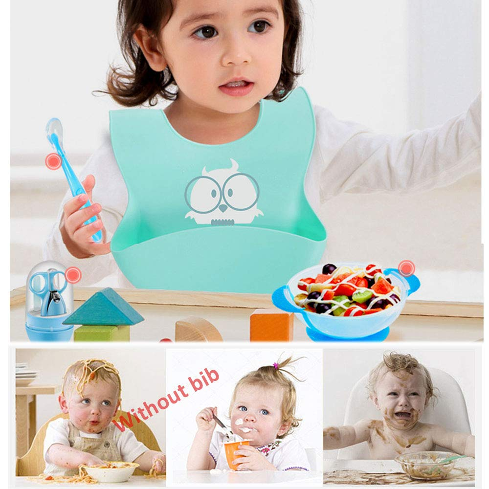 Soft Silicone Bibs Owl,Toddler Bibs Waterproof Easily Wash,Food Grade 2 pack