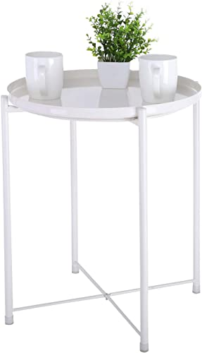 Patio Side Table Outdoor,Small Round Metal Side Table Waterproof Portable Coffee Table End Table Snack Table