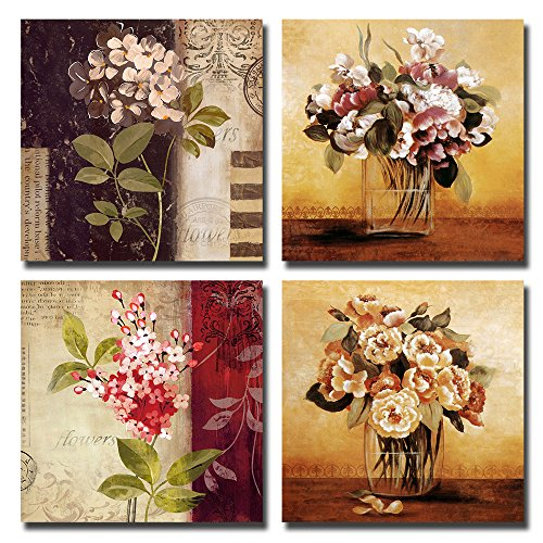 Framed vintage retro flowers nature canvas art prints for Best home decor from amazon