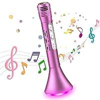 Tragbares drahtloses Karaoke Mikrofon,Bluetooth Lautsprecher Musik Spielen Singen Sprach-und Gesangsaufnahmen mit LED Licht für Erwachsene/Kinder,kompatibel mit IOS iPhone iPad Android Smartphone PC