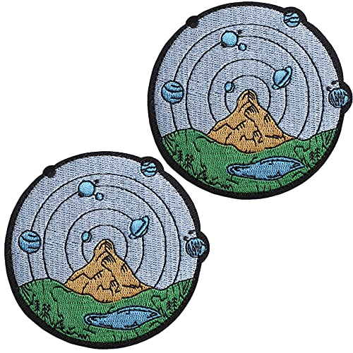 J.CARP Mountain with Outer Space Scene Patch Embroidered Applique Iron On / Sew On Emblem, 2 Pieces