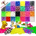 Ultimate 9100 Piece Authentic Rainbow Braid Loom Bands MEGA Storage Organizer - 8400(+100 Bonus) Rubber Bands in 28 Colors, 10 Bonus Animal Erasers, 500 Clips, 100 Beads, 12 Bonus Charms & Strong Case