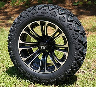 "14"" Golf Cart Wheels and Tires Combo Set of 4 Machined/Black w/ All Terrain Tires"