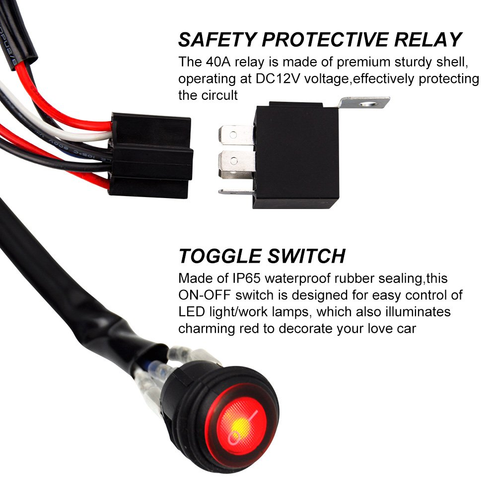 Liteway Led Light Bar 500w Wiring Harness Kit 14v 40a A Relay For On Off Waterproof Toggle Rocker Switch 2 Years Warranty 1lead 12ft Automotive