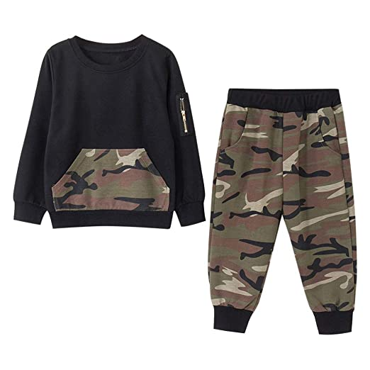 424a82b8e4a Amazon.com  G-Real 2 Styles Baby Boy Girl Camouflage Long Sleeve T-Shirt  Tops+Green Long Pants Outfit Casual Outfit  Clothing