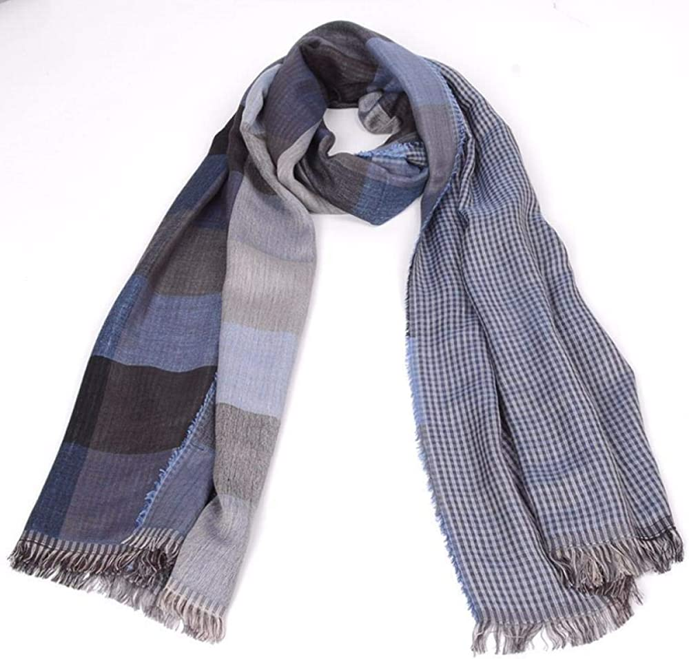 Mens plaid woven double-sided scarf long scarf shawl bag headscarf