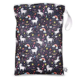 FLOCK THREE Waterproof and Reusable Wet Bag Diaper Stroller Water Resistant Swimsuit Travel Toiletries Yoga Gym Washable Carrier Unicorn Large 12.6'' x 16.5''