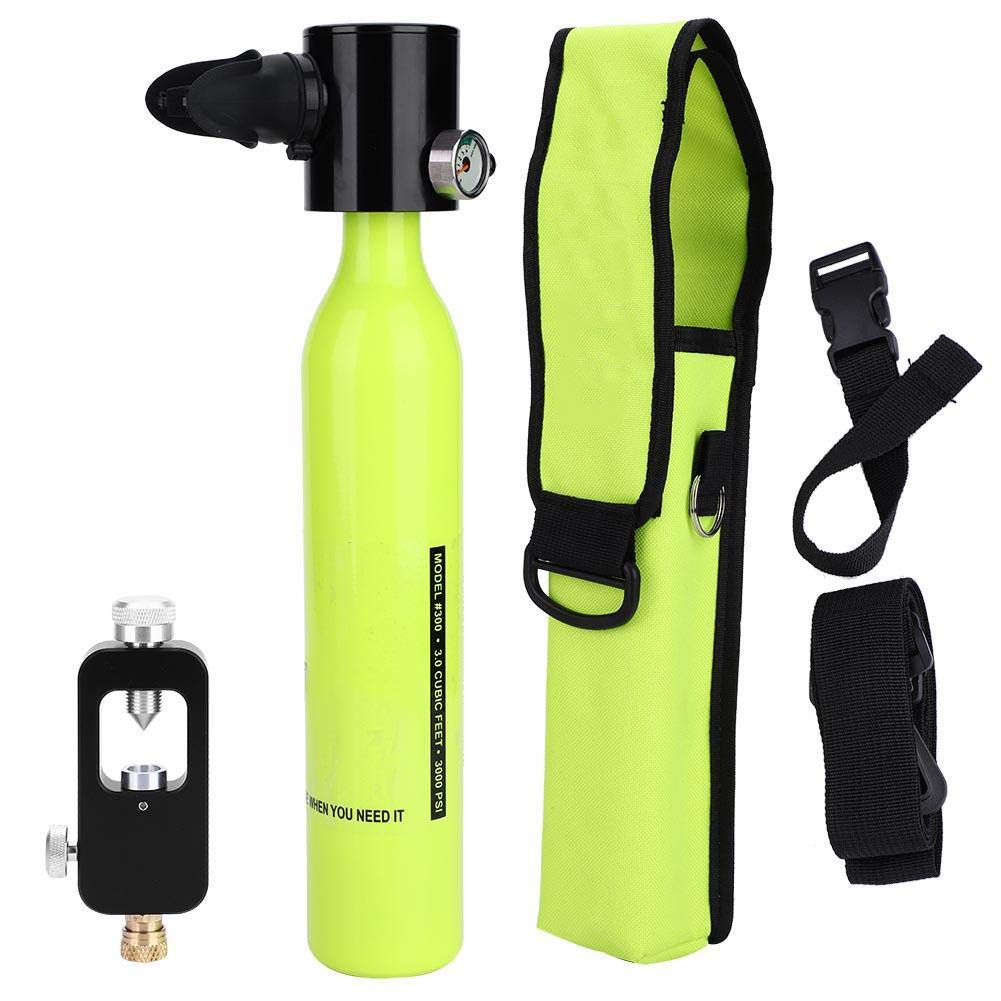 Alomejor Oxygen Cylinder Portable Scuba Tank Set Diving Equipment Set with Hydropneumatic Adapter&Respirator Bag Diving Equipment