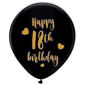 Amazon Black 18th Birthday Latex Balloons 12inch 16pcs Girl