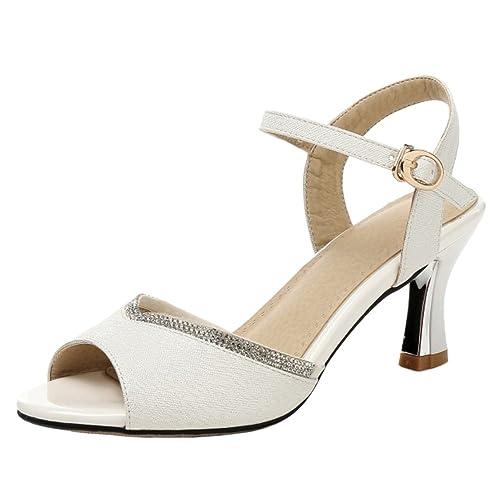 bb9b4e70926 Coolcept Women Elegant Mid Heel Strappy Sandals Peep Toe Shoes White Size  34 Asian
