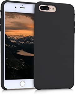 kwmobile TPU Silicone Case Compatible with Apple iPhone 7 Plus / 8 Plus - Soft Flexible Rubber Protective Cover - Black Matte