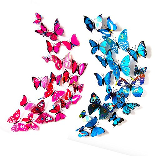 24 Pack 3D Butterfly Refrigerator Magnets, Fridge Magnets, Removable DIY Butterflies Refridgerator Decoration Wall Stickers (Red&Blue)
